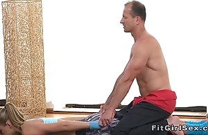 Flexible fit blonde bangs her yoga instructor
