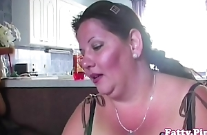 Fat mature fucking between massive tits