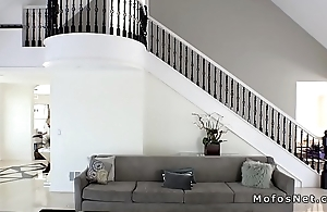 Husband spies and fucks blonde wife at home