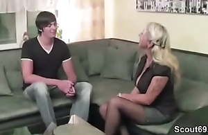 German MILF Step-Mom in Stockings Seduce Young Caitiff public schoolmate to Fuck