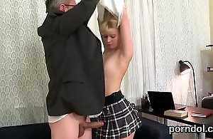 Unartificial bookworm gets tempted and nailed by her senior instructor