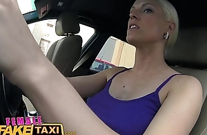 Female Fake Taxi Big Bristols blonde cabbie milf fucks young stud on backseat