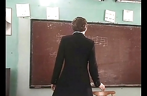 Two students fucked the music teacher with hairy pussy