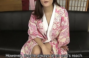 Subtitled amateur Japanese descendant in kimono masturbation talk
