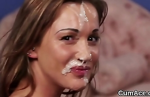 Idle away stunner gets jizz load on her face swallowing all the cum