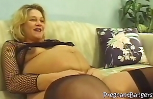 Pregnant blonde gets a pervy fuck