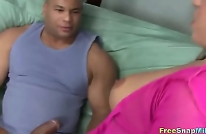 Teresa blowing guy with titanic cock
