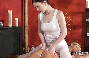 Blonde and busty masseuse in sixty nine