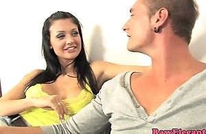 Bigtitted glamour neonate pussypounded after bj