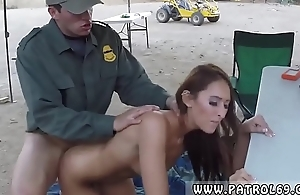 Female show taxi policeman Brunette gets pulled over be useful to a cavity checkout