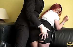 UK redhead sub doggystyled hard till such time as spunked