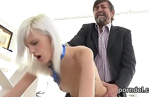 Sensual schoolgirl is tempted and pounded by her senior mentor