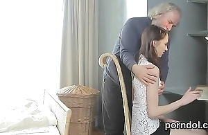 Kissable schoolgirl gets tempted and screwed by her elderly instructor