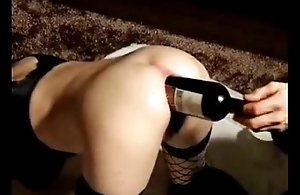 Fisting ass of my slattern wife with a bottle. Amateur extreme