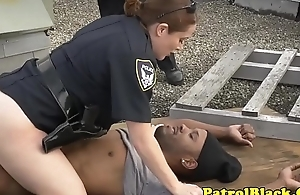 Bossy female officers raiding black thug cock