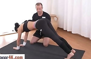 Stunning babe fucked by yoga instructor