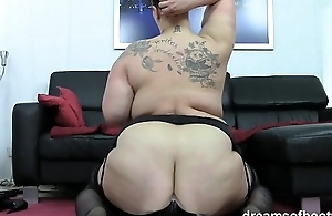 German BBW Jill riding a tremendous long black dildo
