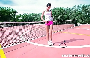 Perfect tiny teen bitch on tennis court playing her tight twat &amp_ wet pussy lips